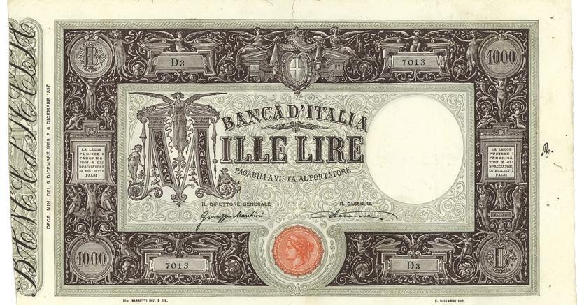 Aste Bolaffi record per un biglietto di banca da 1.000lire del 1899 Grande M-Matrice volato a 73.200 euro, dieci volte la base d'asta
