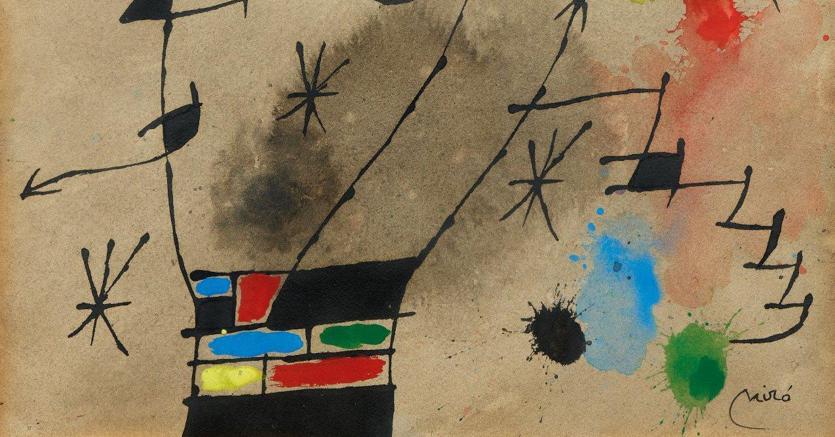 """Aste Bolaffi una piccola carta di Joan Miró, """"Composizione"""", autenticata dall'Adorn di Parigi, aggiudicata per 81.200 euro contro una stima di 40-60mila"""
