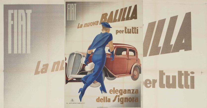CAMBI CASA D'ASTE - Lotto 76 - Marcello Dudovich (1878-1962) - FIAT BALILLA, L'ELEGANZA DELLA SIGNORAAffisso originale, 1934 ca. Litografia impressa da Star-IGAP, Milano. Cm 200 x 140 Stima € 7.000-14.000 - Venduto a 12.500 €