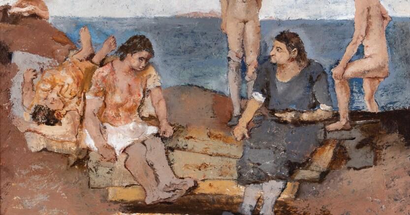 """Asta 56 - Lotto 246 - Fausto Pirandello, """"Donne al mare"""", 1930/31, record mondiale per l'artista, stima € 70.000/100.000, prezzo di vendita € 221.975,00 (particolare)"""