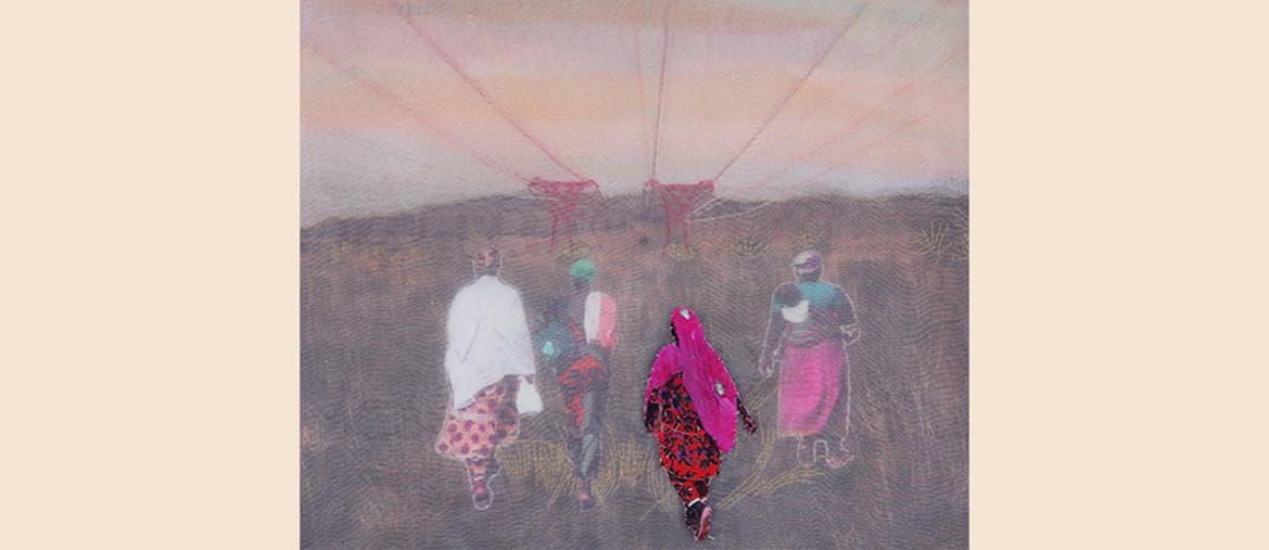 Joana Choumali, Moving Forward, 2018, Collage and embroidery on C-print, 50 x 50 cm. Courtesy Loft Art Gallery