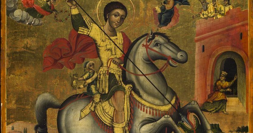 """Icona greca del XVIII secolo, """"San Giorgio con scene della vita"""" (particolare)"""