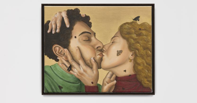 «Moths and Ladybird»,2018 di Patrizio Di Massimo, olio su tela (40 x 50 cm). (Collezione Antonio e Annamaria Maccaferri)