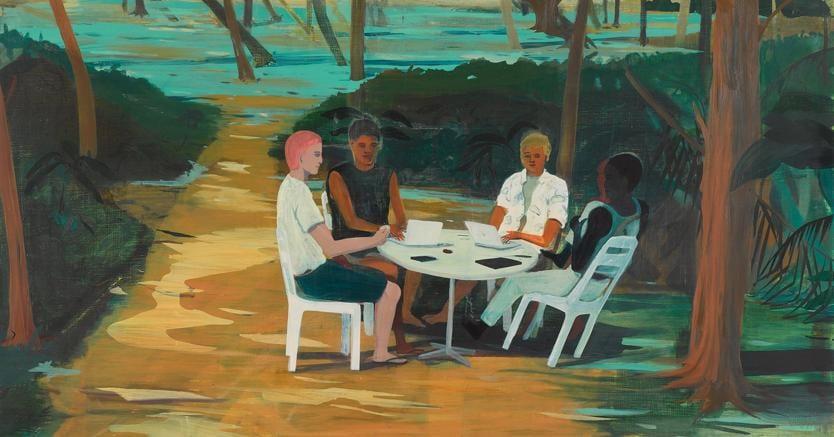 «Hackers»2013 di Jules de Balincourt, oil on panel 121,9 × 167,6 cm, prezzo  90.000 €. (courtesy MONICA DE CARDENAS, Milano)