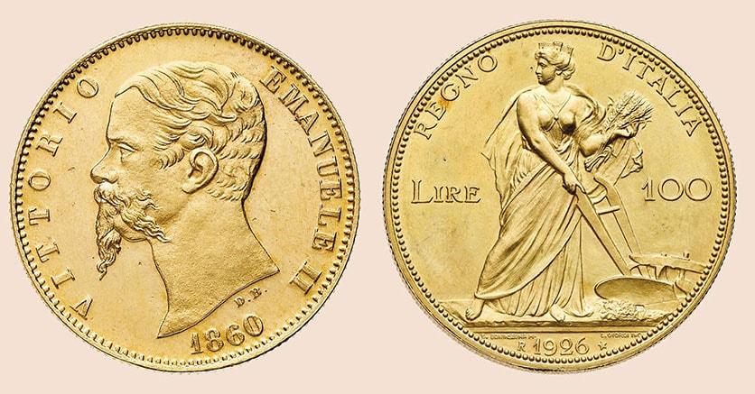 Nella combo da destra: il 20 lire oro emesso nel 1860 a Bologna durante la transizione verso l'unità italiana nazionale (solo 159 esemplari coniati) base 50mila euro realizzo 170.800 euro e le 100 lire oro Aratrice del 1926, Zecca di Roma, solo 40 es. coniati, base 20mia euro, realizzo 85.400 euro
