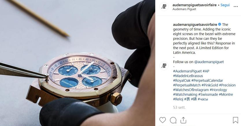 Un'immagine dal profilo Instagram di Audemars Piguet