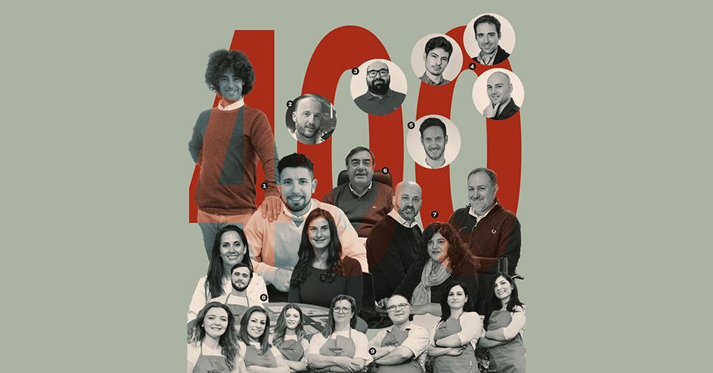 Alcune imprese di Leader della crescita 2020. 1. Luca e Roberto Terrazzan (Automotive Broker pag. 12); 2 Luca Conti (Macropix, pag. 5); 3 Valerio Tabacchi (Stayincortina, pag. 10); 4 Ugo Vespier, Marco Paolieri e Maurizio Sambati (Viralize, pag. 7); 5 Matteo Danieli (Bending Spoons, pag. 6); 6 Aurelio Balletti (Comal, pag. 8); 7 Claudio Storti, Patrizia Monti e Claudio Samarati (Igw, pag. 8); 8 Martina Cusano e Elisa Tattoni (Mukako, pag. 2); 9 Il team di Rosano Dy Fruit (pag. 9)