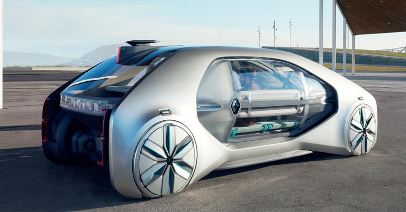 Il concept Ez-Go di Renault che  prefigura un veicolo a  sei  posti totalmente driverless e ovviamente a trazione elettrica.