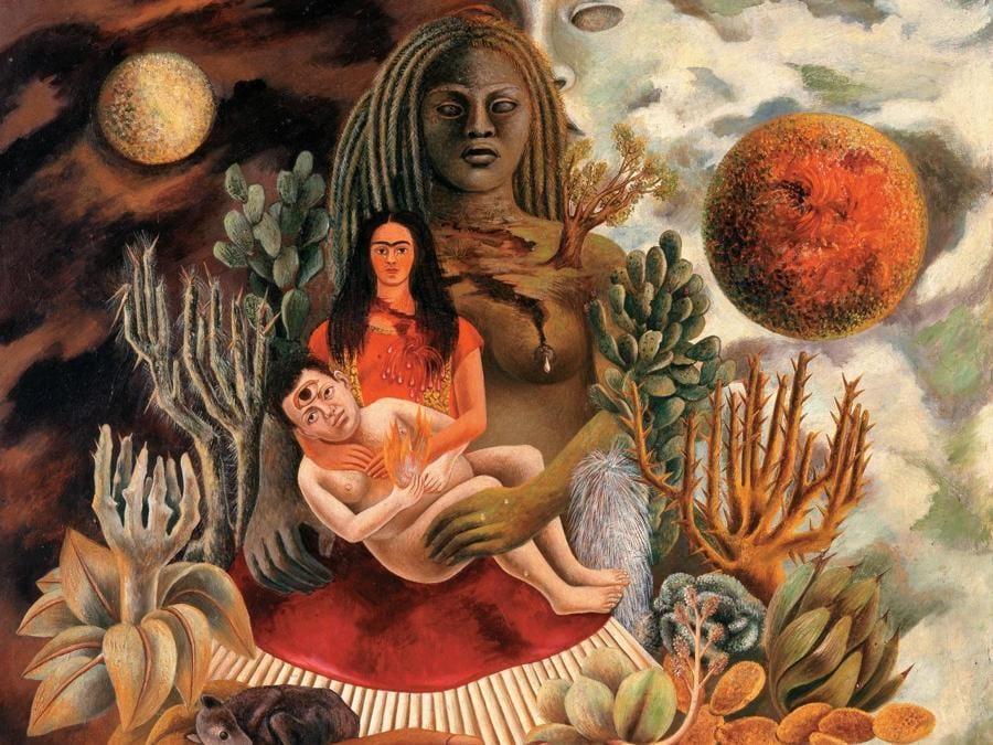 L'amoroso abbraccio dell'Universo, la Terra (Messico), Diego, io e il Signor Xólotl, 1949, olio su masonite (© Gerardo Suter, © Banco de México Diego Rivera Frida Kahlo Museums Trust, México, D.F. by SIAE 2018)