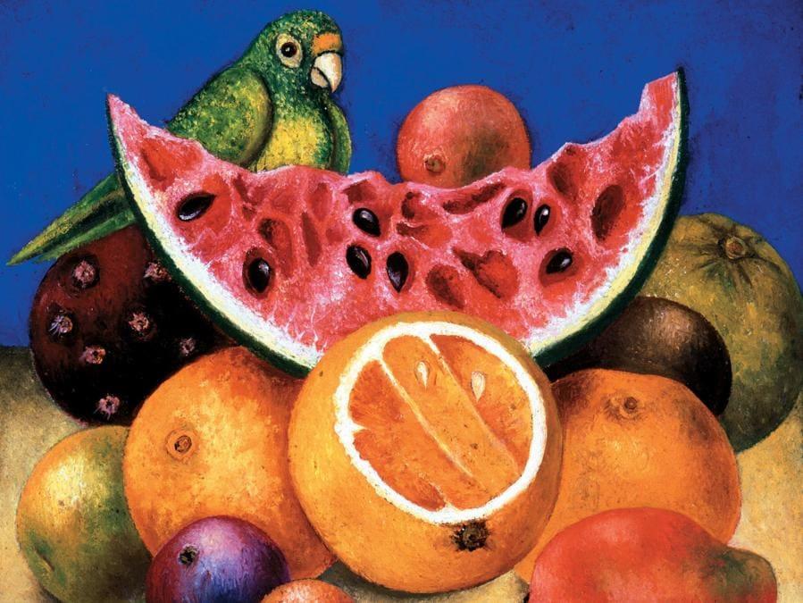 Natura morta con pappagallo e frutta, 1951 (Nickolas Muray Collection of Mexican Art, Harry Ransom Center. The University of Texas at Austin, © Banco de México Diego Rivera Frida Kahlo Museums Trust, Mexico, D.F. by SIAE 2018)