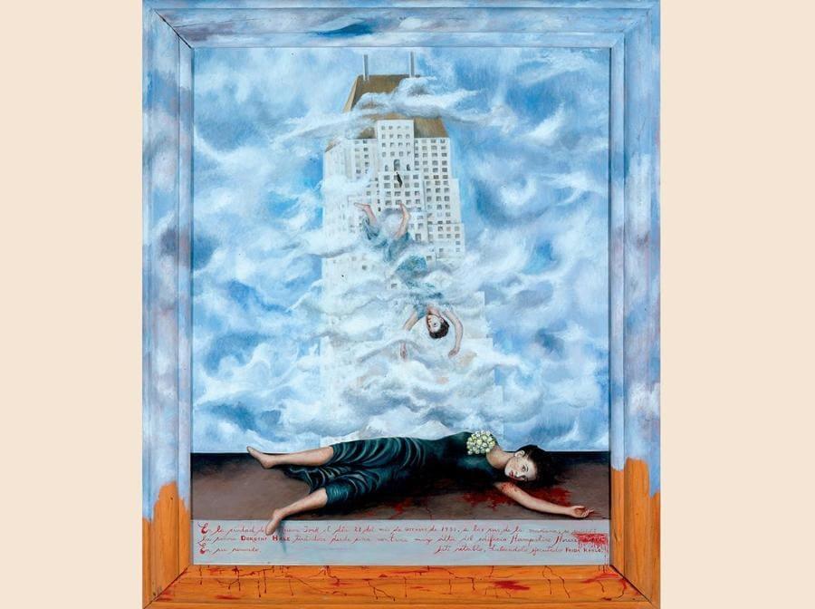 Il suicidio di Dorothy Hale,  1938-39, olio su masonite, con cornice dipinta (Collection of Phoenix Art Museum, © Banco de México Diego Rivera Frida Kahlo Museums Trust, Mexico, D.F. by SIAE 2018)