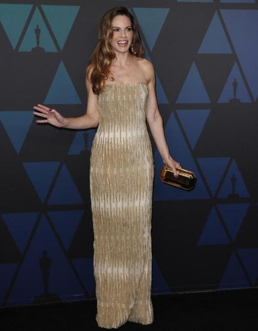 Hilary Swank in Armani Privé
