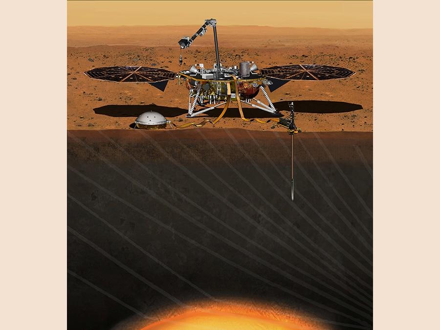 Un rendering del lander marziano della NASA InSight, dedicato a indagare gli interni profondi di Marte. REUTERS/NASA/JPL-Caltech/Handout via Reuters