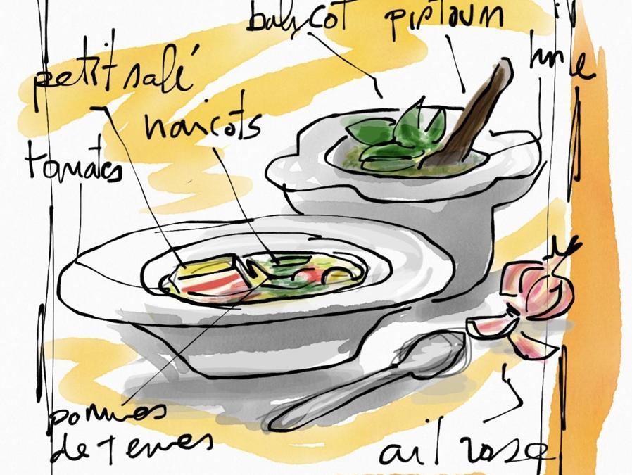 La ricetta disegnata e interpretata dallo chef-giornalista Pierre Ley per la nizzarda soupe o'pestu, specialissima versione della tradizionale zuppa e del classico pesto