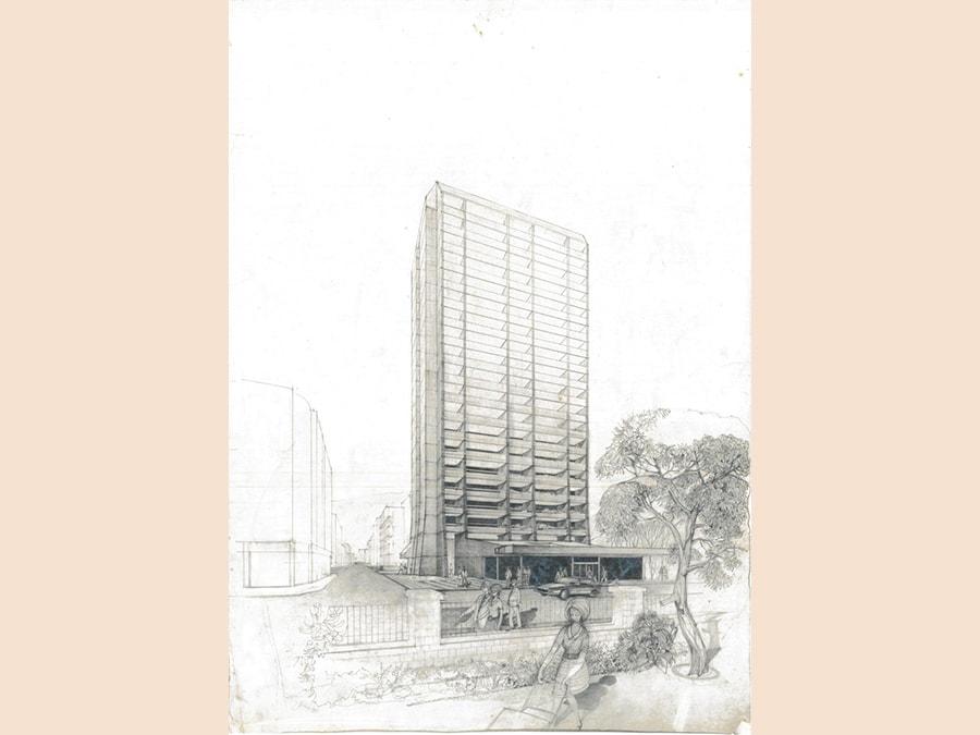 Khalil Khouri_Architecture_Mixed use building near Sanayeh public garden Beirut 1960's_Perspective