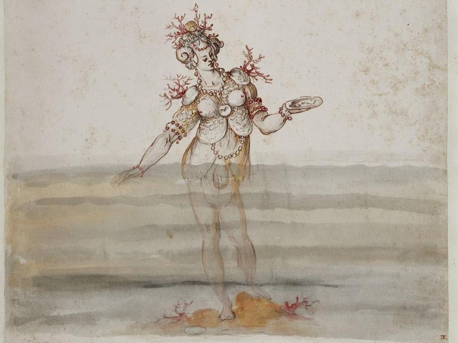 "Da Bernardo Buontalenti. ""Ninfa marina"", in Disegni per i costumi de ""La Pellegrina"", 1589. Firenze, Biblioteca Nazionale Centrale"