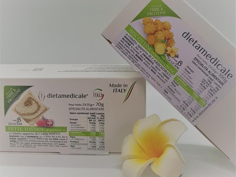 Dietamedicale ha creato una linea di prodotti per rispondere alle esigenze dei medici che prescrivono diete a ridotto apporto di calorie e di carboidrati