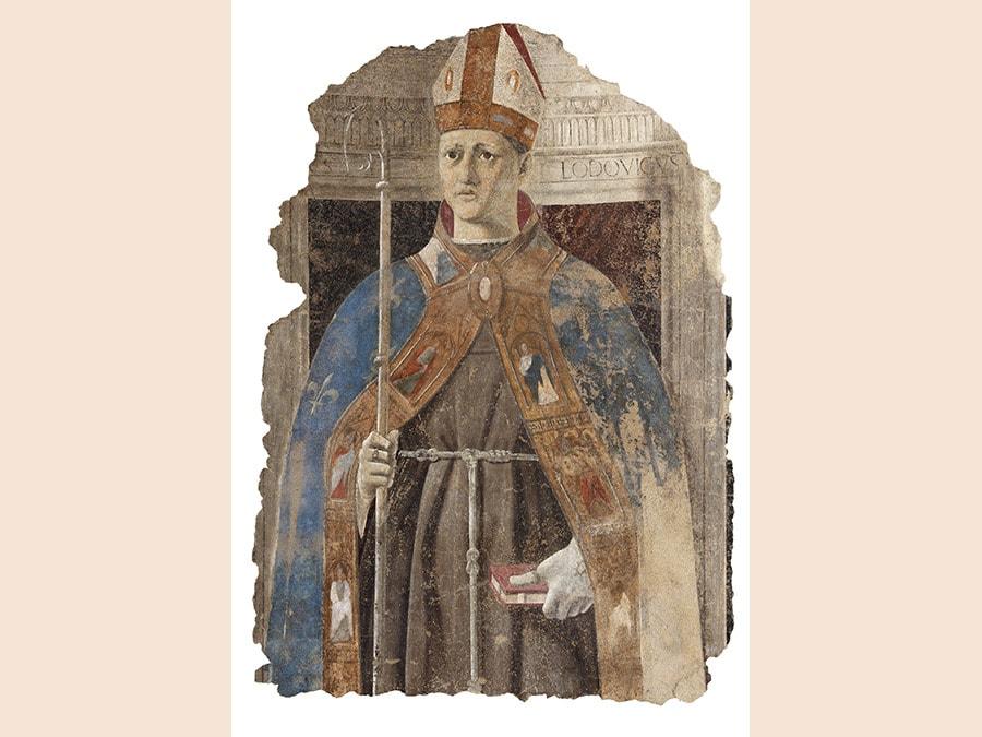 Piero della Francesca. San Ludovico, 1460. (Proveniente da Palazzo Pretorio). Affresco staccato, 123x90 cm. Sansepolcro, Museo Civico