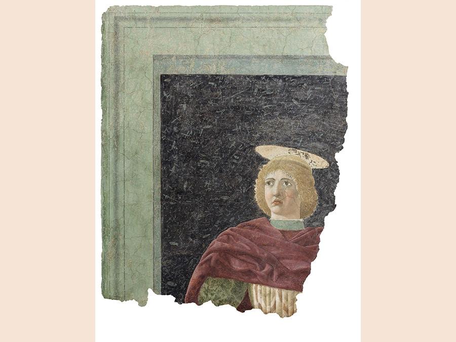 Piero della Francesca. San Giuliano, 1451-1454. (Proveniente dalla chiesa di Sant'Agostino. poi Santa Chiara). Affresco staccato, 130x80 cm. Sansepolcro, Museo Civico