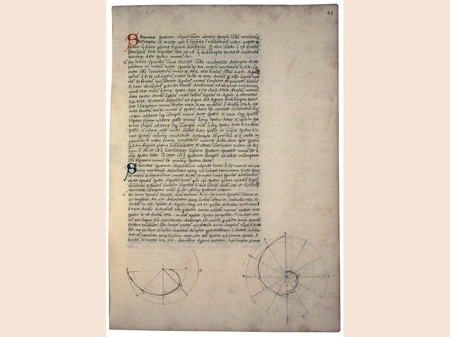 Piero della Francesca. Archimede. codice cartaceo 290x220 mm. Firenze, Biblioteca Riccardiana