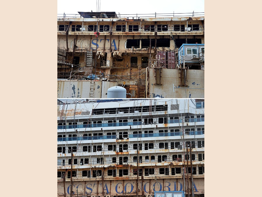 Nella combo in basso il fianco della Costa Concordia in un'immagine del giugno 2015 e in altro lo stesso fianco in un'immagine del novembre 2015. ANSA/ LUCA ZENNARO