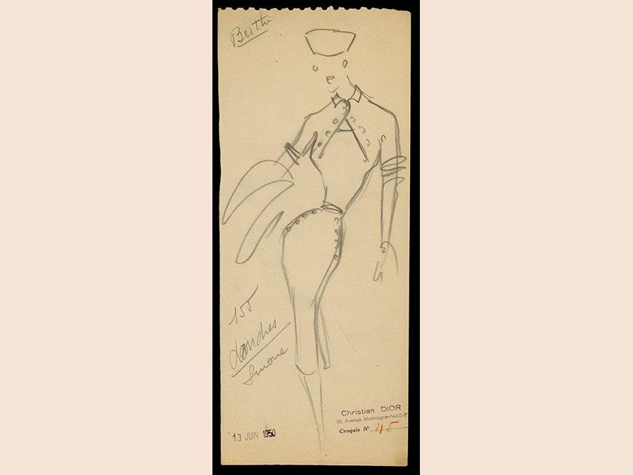 Sketch di Christian Dior, haute couture primavera-estate 1947 © Christian Dior