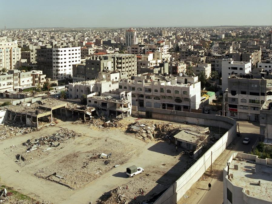 Antonio Ottomanelli, Gaza Strip – Palestine, 12-2012, Gaza City from Al Zafer Tower, and view of the Hamas boot camp stricked during the last war, Traditional analog film RA-4 Type Print, 2x 70 x 60 cm Edition of 4, Courtesy of the artist and Montrasio Arte Gallery