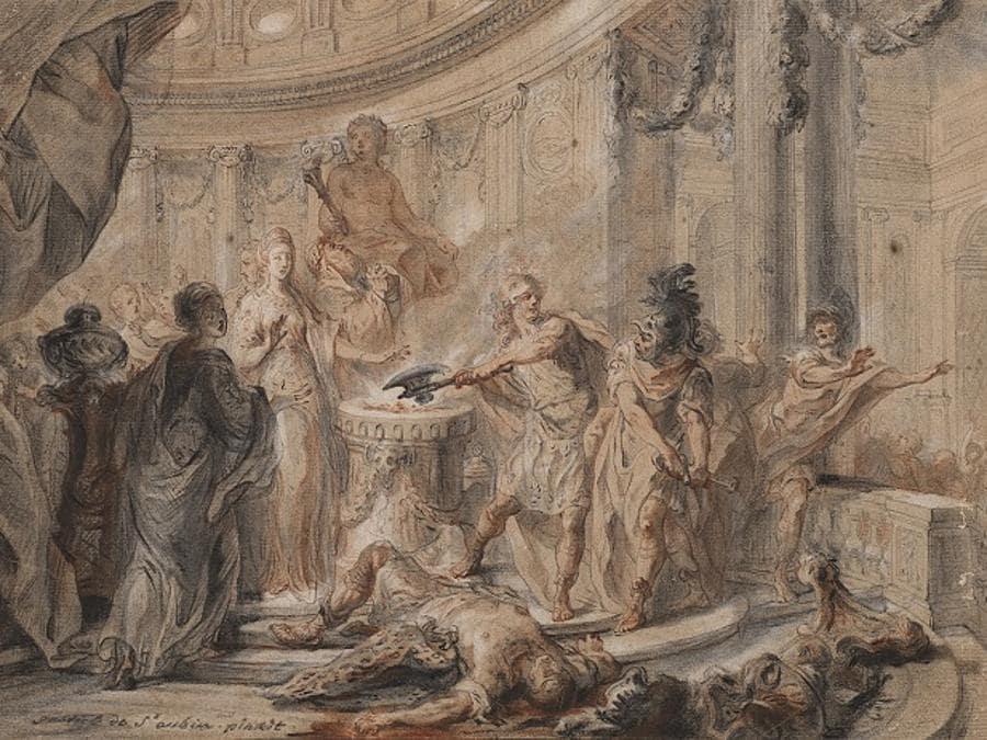 """GABRIEL JACQUES DE SAINT-AUBIN. """"Matrimonio di Merope e Polifonte"""", carboncino, sanguigna, acquerello e rialzi a gessetto bianco su carta (mm 337x502). Stima 24.000-26.000 €. Venduto a 275.000 €"""