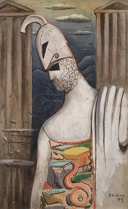 """GIORGIO DE CHIRICO. """"Pericle"""" 1925, olio su tela, cm 107x65. Firmato e datato 1925 in basso a destra. Stima su richiesta. Venduto a: 587.500 €"""