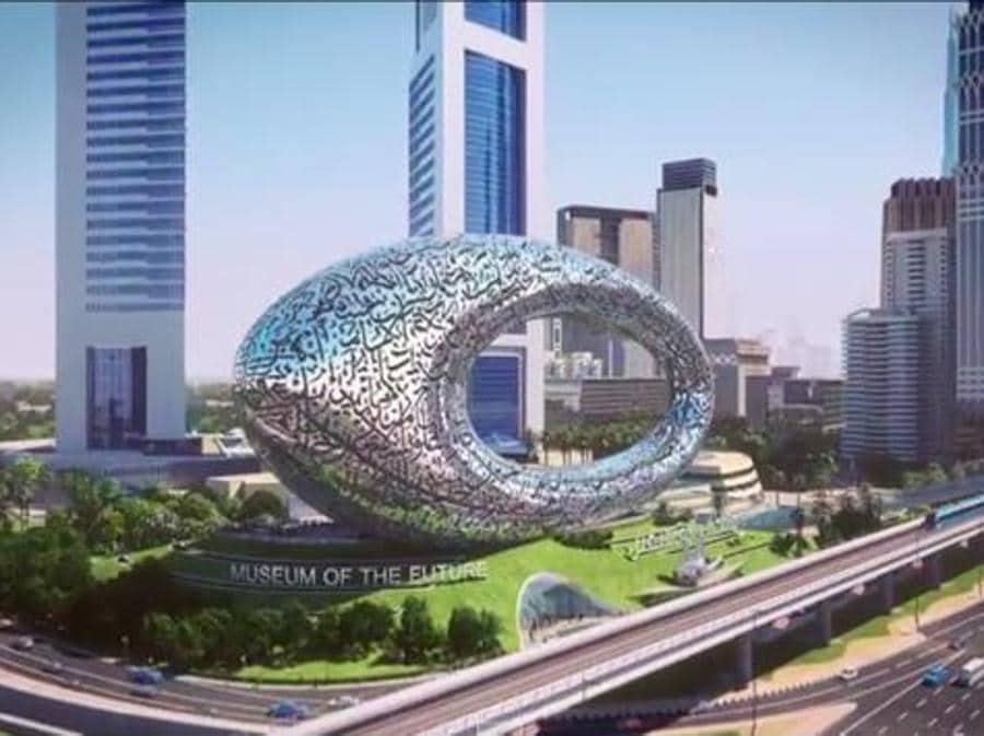 Un'altra immagine del Museo del Futuro di Killa a Dubai