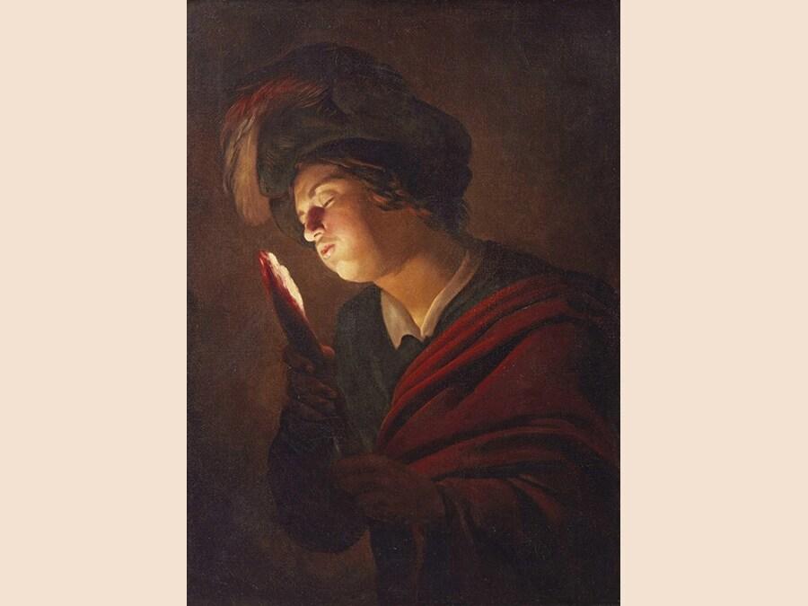 Gerrit van Honthorst, detto Gherardo delle Notti. RAGAZZO CHE SOFFIA SU UN TIZZONE. Olio su tela; cm 97x71, lotto 4 - aggiudicato a 369.000 euro
