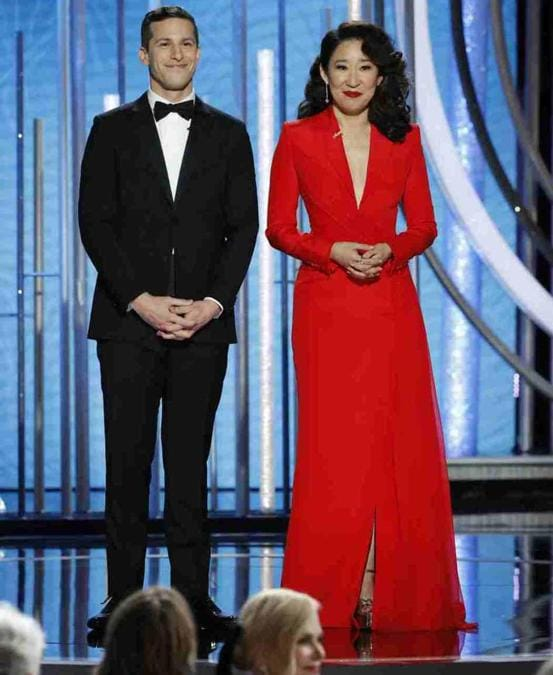 Andy Samberg e Sandra Oh  (Photo by Paul Drinkwater/NBCUniversal via Getty Images)
