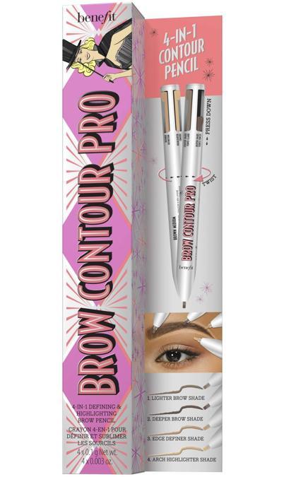 Brow Contour Pro di Benefit Cosmetics, la prima matita 4 in 1 studiata per il contouring delle sopracciglia: 2 tonalità per uniformare le brows, una per definire i contorni e un illuminante per accentuare l'arcata