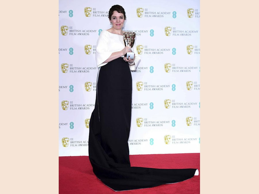 Olivia Coleman in Emilia Wickstead