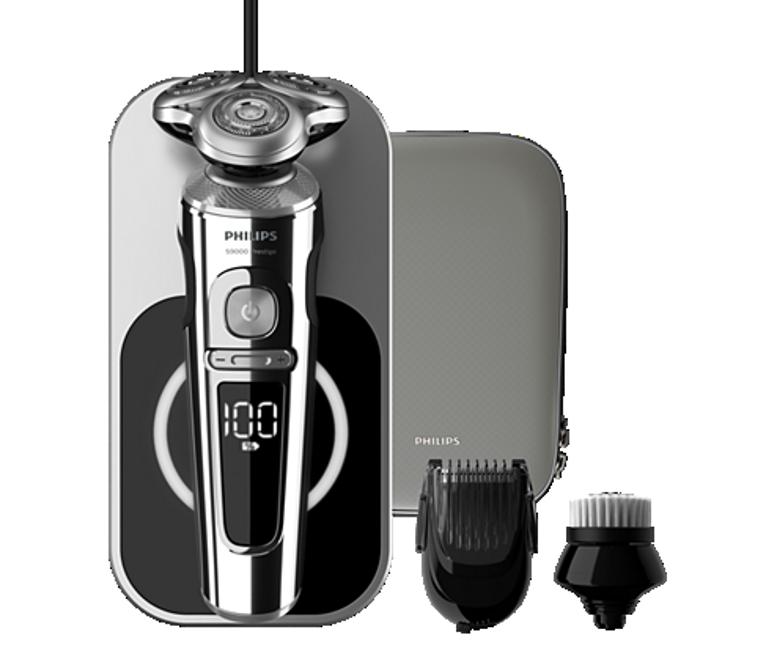 Per gli uomini che amano la rasatura elettrica, l'oggetto del desiderio è il modello S9000 Prestige di Philips. Caratterizzato da tre testine che si muovono in modo indipendente, ha lame di precisione NanoTech, rinforzate con nano-particelle per tagliare i peli con la massima precisione, offrendo una rasatura accurata senza paragoni, anche con barba di una settimana: il sensore BeardAdapt controlla la densità dei peli 15 volte al secondo e adatta automaticamente la rasatura ai peli. Il rasoio elettrico Philips S9000 Prestige è venduto con un pad di ricarica Qi, un regolabarba ad aggancio per un effetto barba incolta o per rifinirla in maniera accurata, una spazzolina di pulizia e una custodia.
