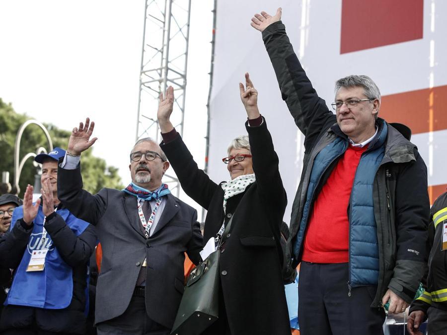 Carmelo Barbagallo, della Cisl Anna Maria Furlan e della Cgil Maurizio Landini  -  ANSA/GIUSEPPE LAMI