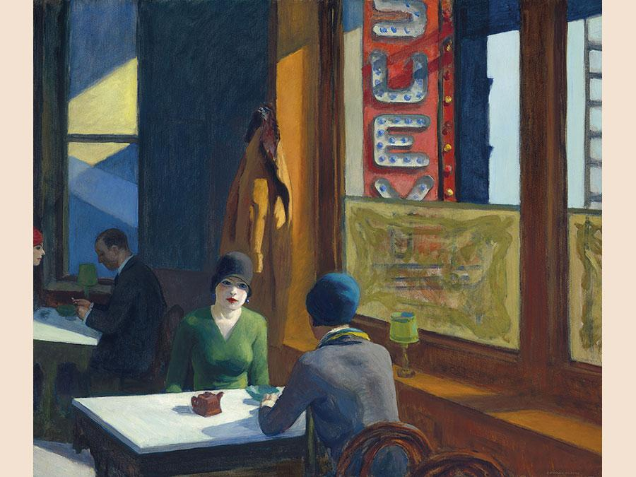 13 November 2018. An American Place | The Barney A. Ebsworth Collection Evening Sale. New York. Edward Hopper. Chop Suey, oil on canvas. painted in 1929. Price realised: $91,875,000 / £71,442,457. WORLD AUCTION RECORD FOR THE ARTIST. WORLD AUCTION RECORD FOR THE CATEGORY OF AMERICAN ART