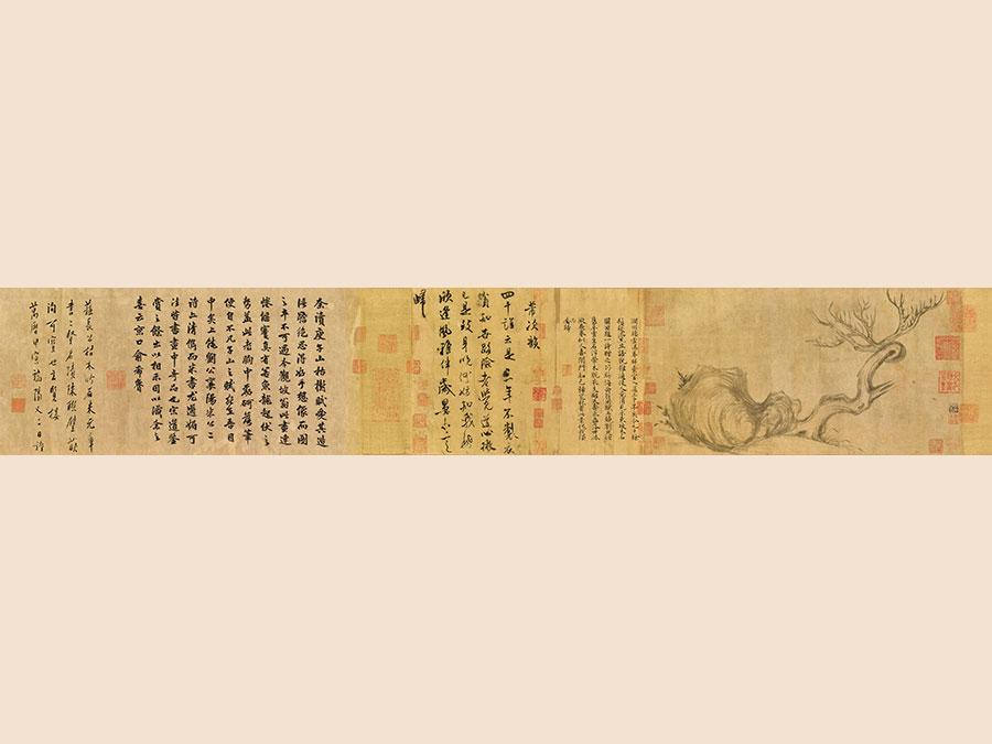 26 November 2018. Beyond Compare: A Thousand Years of Literati Aesthetic Evening Sale, Hong Kong. Su Shi. Wood and Rock, handscroll, ink on paper. Price realised: HK$463,600,000 / $59,505,899. HIGHEST VALUE WORK SOLD IN CHRISTIE'S ASIA