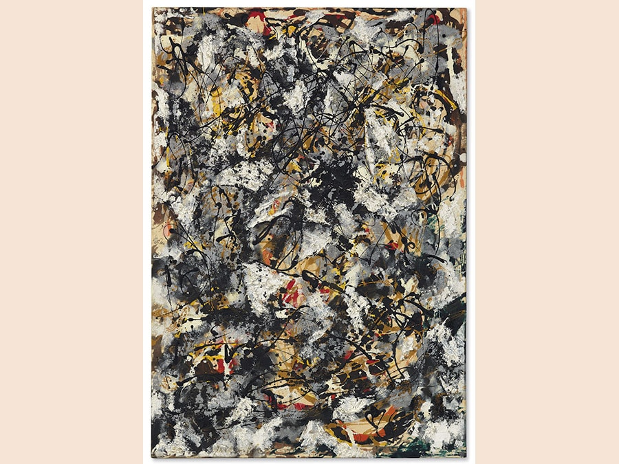 13 November 2018. An American Place | The Barney A. Ebsworth Collection Evening Sale. New York. Jackson Pollock. Composition with Red Strokes, oil, enamel and aluminum paint on canvas, painted in 1950. Price realised: $55,437,500 / £43,108,476