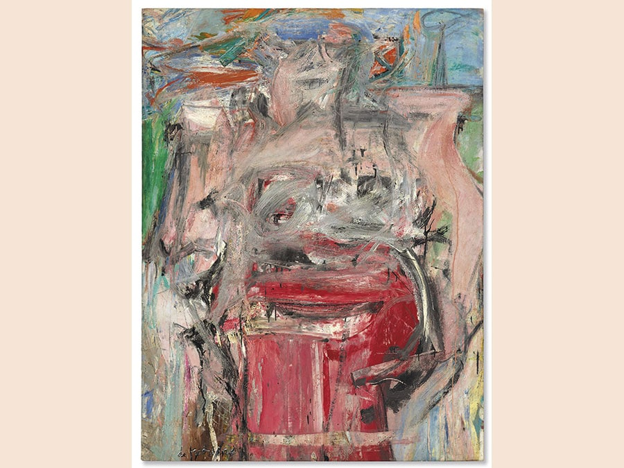 13 November 2018. An American Place | The Barney A. Ebsworth Collection Evening Sale. New York. Willem de Kooning. Woman as Landscape, oil and charcoal on canvas, painted circa 1954-55. Price realised: $68,937,500 / £53,606,143. WORLD AUCTION RECORD FOR THE ARTIST