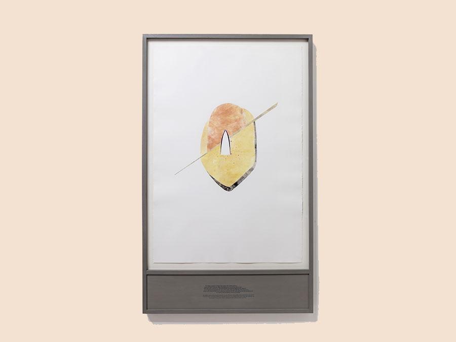 SHADI HAROUNI - The Bahaui cemetery in Tehran, 2017 - monotipo su carta platinum, serigrafia su cornice / monoprint on platinum paper, silkscreen on frame - cm 143 x 87 x 5 - Courtesy of the Artist and Galleria Tiziana di Caro - Ph. Danilo Donzelli - Prezzo: € 5.000 + IVA
