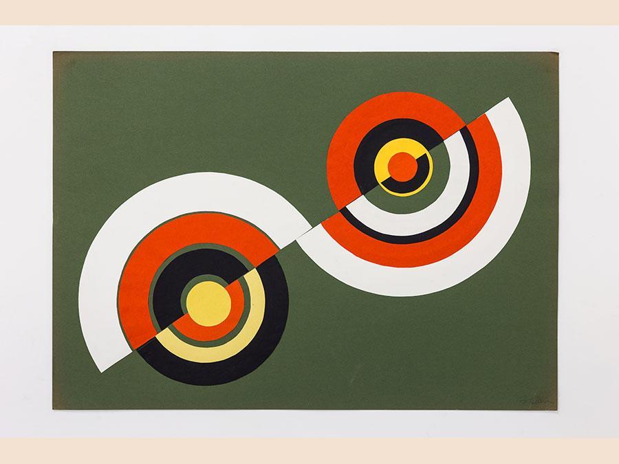 BETTY DANON - Dimensione cerchio, 1969-72 - spray su cartoncino / spray on paper - 53 x 73 (incorniciata / framed) cm 50 x 70 (senza cornice / unframed) cm - Courtesy of the Artist and Galleria Tiziana di Caro - Prezzo: 5.800 + IVA