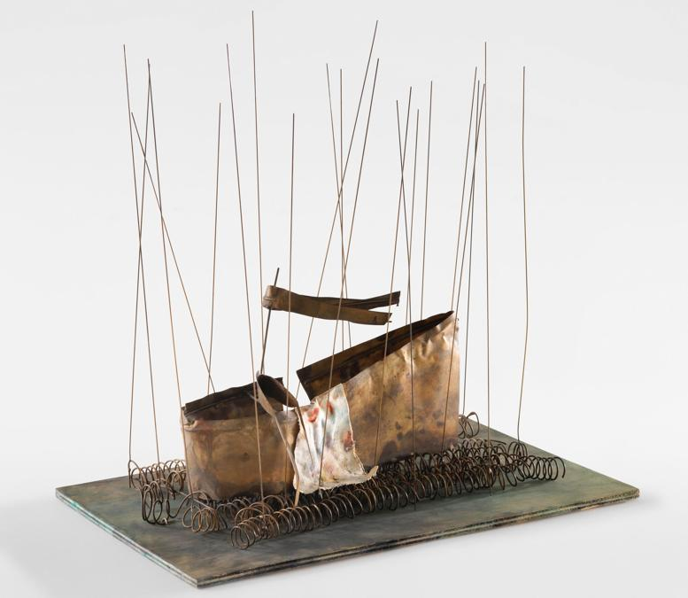 Fausto Melotti - In palude - (In the Swamp), 1984 - Brass, painted wood, painted fabric - 41 x 42 x 26 cm