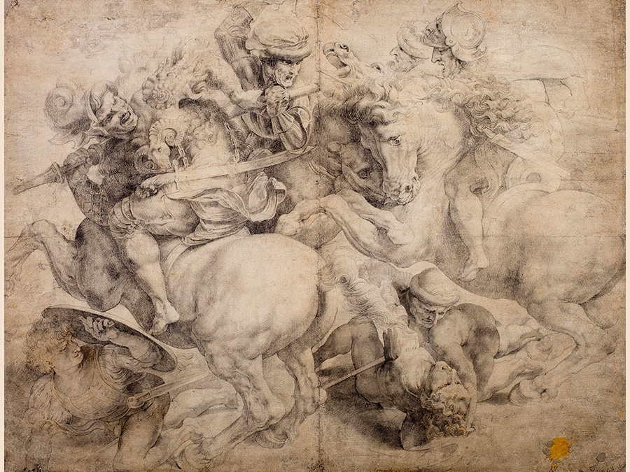 Italian School, 16th century. The Fight for The Standard (The Battle of Anghiari), After Leonardo. Black chalk and gray wash, with touches of pen and brown ink; bears inscriptions, in brown ink: Leonardo da Vinci (fecit deleted), No 2 and A v Dyk 435 by 565 mm; 17 1/8 by 22 1/4 in. Estimate $25/35,000. Sold for $795,000