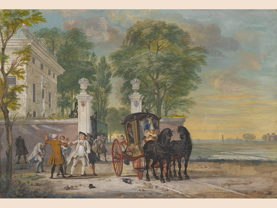 Cornelis Troost. 'Drinkenburg' (The Morning After). Gouache, with some pastel, within black borders, on paper laid down on canvas; signed on the wall, centre left: CTroost and inscribed, on the gateposts: drinken / Bürg. 440 by 635 mm; 17 3/8 by 25 in. Estimate $300/400,000. Sold for $639,000