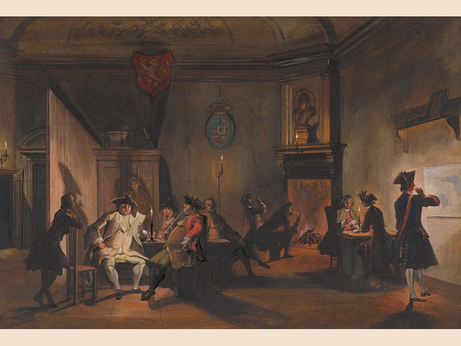 Cornelis Troost.A Corps De Garde with Dutch Officers at Night.Gouache; signed in black ink, lower left: C. Troost and bears old numbering and initials(?) in brown. ink, verso: No378 and EPA. 338 by 498 mm; 13 1/4 by 19 5/8 in. Estimate $250/300,000. Sold for $459,000