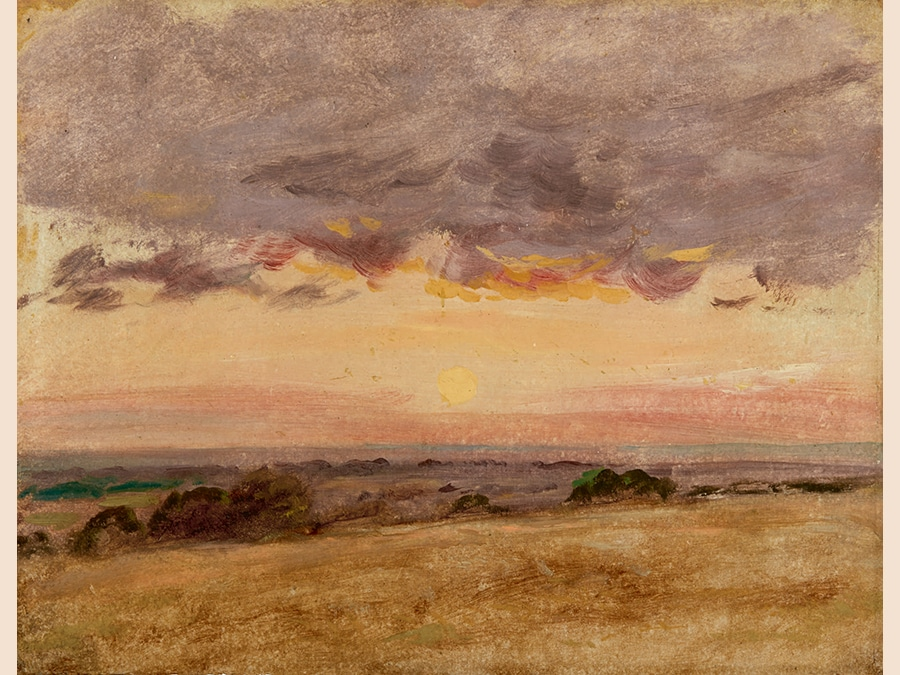 Human Reflections: Property from a Distinguished Private Collection. John Constable, R.A. Summer Evening with Storm Clouds. Oil on paper, laid on panel. 240 by 300 mm; 9 1/2 by 11 7/8 in. Estimate $150/200,000. Sold for $375,000