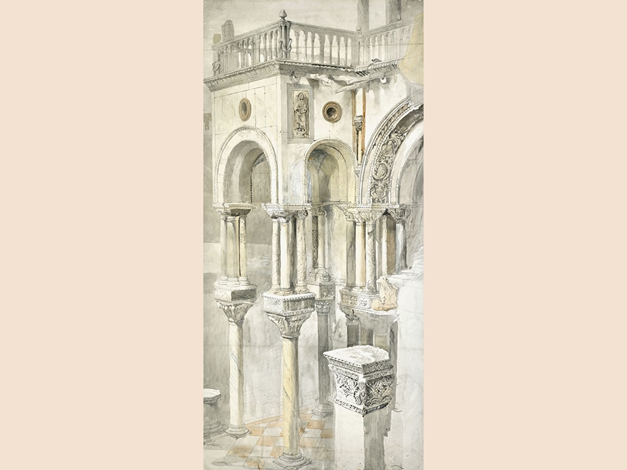 Property from the Descendants of Evelyn Joll (1925-2001). John Ruskin. The South Side of the Basilica of St Mark's, from the Loggia of the Doge's Palace, Venice. Watercolor over pencil, heightened with bodycolour. 966 by 456 mm; 38 by 18 in. Estimate $120/180,000. Sold for $150,000