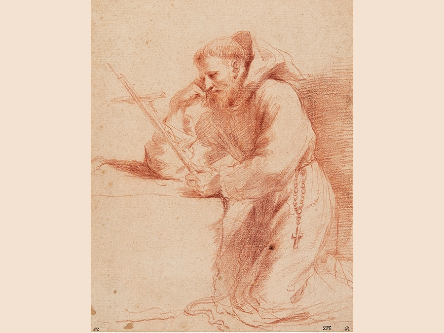 Giovanni Francesco Barbieri, called il Guercino. St. Francis of Assisi, Kneeling in Prayer. Red chalk. 240 by 192 mm; 9 1/2 by 7 1/2 in. Estimate $25/35,000. Sold for $150,000