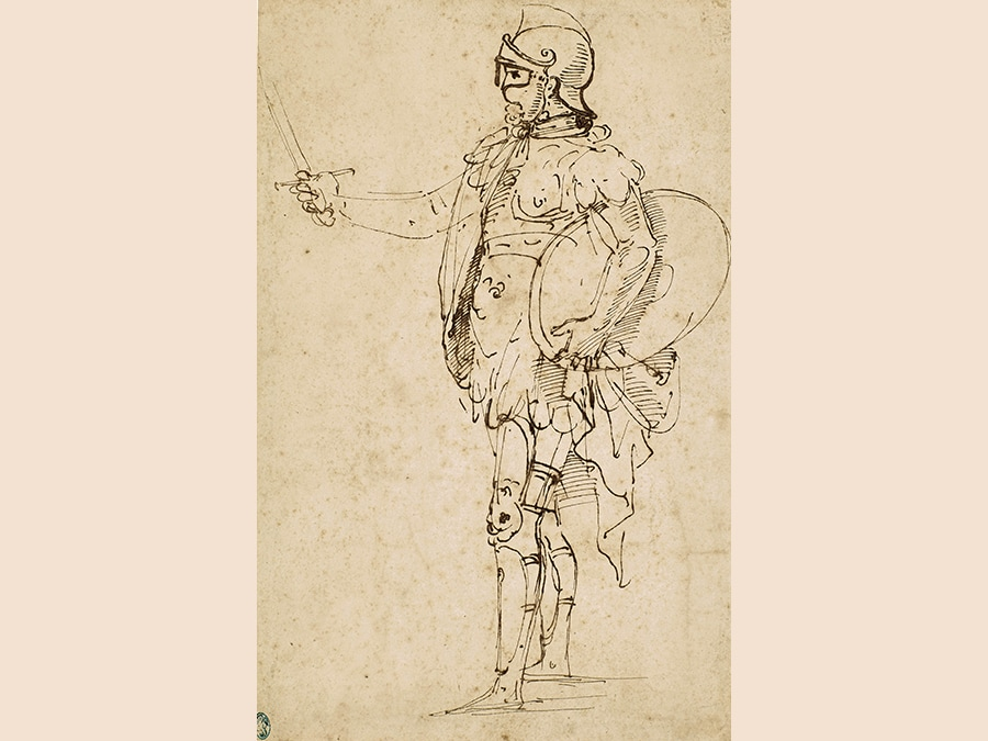 Raffaello Sanzio, called Raphael. A Standing Soldier in Armor Seen in Profile. Pen and brown ink; bears old attribution on the verso in pen and brown ink, just legible with infrared light: ..Raffaello d'Urbbino.. and a faint pencil inscription, most probably 19th-century, on the left, slightly above the lower margin: Scuola Romana / Raphaele fecit inv.; bears numberings, verso: 2350 (blind stamped, upper centre), C.341 (in red chalk, upper left) and 7 and4 (both black chalk) 272 by 175 mm; 10 3/4 by 8 7/8 in. Estimate $800,000/1,200,000. Sold for $795,000